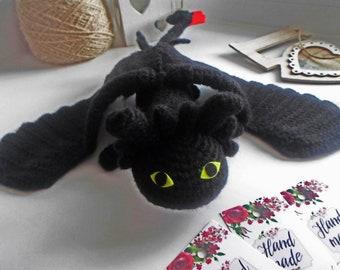 night fury toy/night fury / night Fury Dragon / Stuffed Toy / Amigurumi/night fury toy/ dragon toy/knitted toy/dragon/