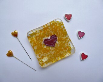 Earring ring dish yellow heart fused glass birthday christmas childs teachers bridesmaids gift Mothers Day stocking filler wedding favour