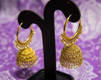 Gold and Pearl Hoop Jhumka Earrings   Jhumki   Pearl Jhumkas   Indian Jewelery   Bollywood Jewelery