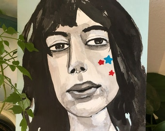 Original art // portrait painting // Bubblehead no. 65 // original painting // illustration on paper // 5 x 7