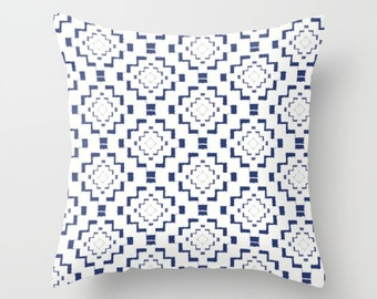 Throw Pillow - Rough Geometric Aztec Print - Navy Blue White - Square Cover with Insert - 16x16 18x18 20x20 24x24