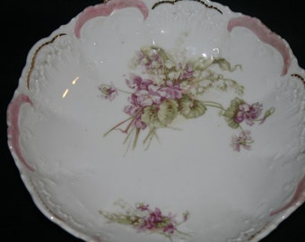 hand pained floral bowl marked Welman, Germany
