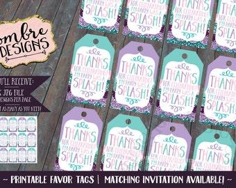 Mermaid Party, Decor, Mermaid Favor Tags, Loot Bag Tags, Favor Bag, Tag, Mermaid Birthday Decorations, Printable