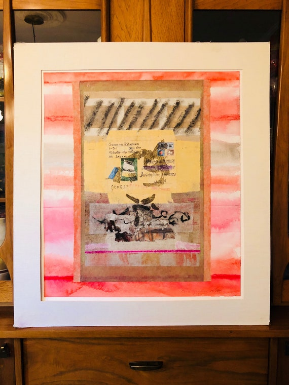 """Original Mixed Media Collage on Canvas by Artist Renee Ritter, """"Packet for a Friend"""" - Watercolor + Paper Mache Abstraction - FREE SHIPPING"""