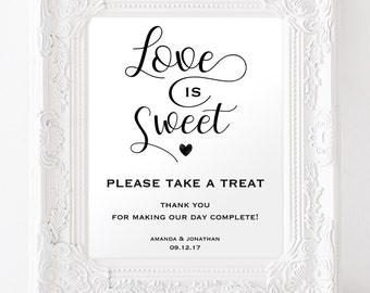 Love is Sweet Sign - Reception Sign - Take a Treat Sign - Wedding Sign Printable - Dessert Table Sign - Downloadable wedding #WDH0234