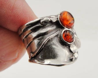 Fine Garnet Ring, 925 Stunning Sterling Silver Ambea Ring, Handcrafted Ring, Israel Jewelry,  Stone Ring (114do)