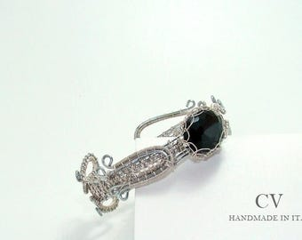 "Torino"" bracelet, steel and silver, black crystal"