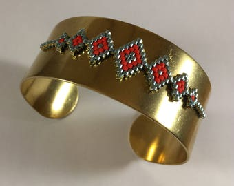 Brass and Miyuki geometric Cuff Bracelet