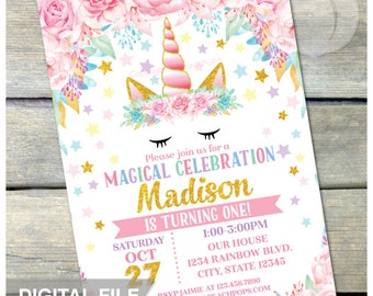 "Unicorn Birthday Invitation - Magical Floral Unicorn Birthday Party - Pink Gold - ANY AGE - DIGITAL Printable Invite - 5"" x 7"""