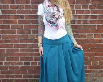 Blue Teal Boho Pleated Cotton Gauze Long Maxi Skirt|Hippie Skirt|Maternity Maxi Skirt|Floor Length Skirt|Peasant Skirt|Summer Skirt
