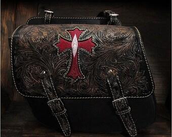 Bikers Leather Saddle Bag Cross Black K19A08/sb3566