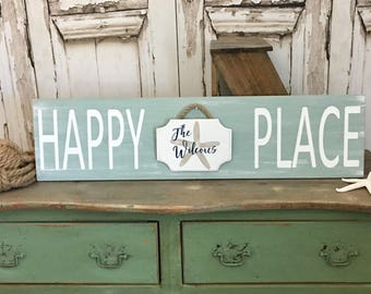 Happy Place Sign Beach Sign Beach House Sign Happy Place Beach Sign Beachy Sign Vacation Home Sign Beach Decor