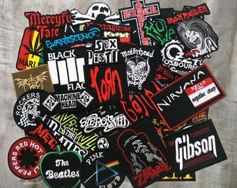 Wholesale Lot Random Punk HipHop Sew On Embroidered DIY Mix Music Band Patch