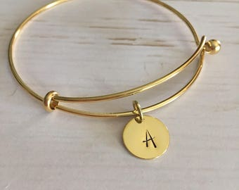 Initial Bracelet,Gold bangle bracelet,Personalized,Gift for her,Monogram,Bridesmaid gift,Jewelry,Bracelets,Women's jewelry,Custom jewelry