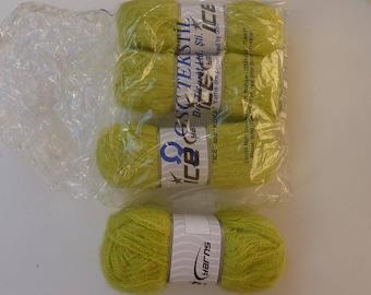 4 lime green 30% mohair blended yarn