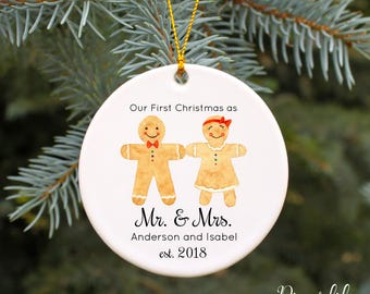 Our First Christmas as Mr and Mrs Ornament First Christmas Married Ornament Personalized Christmas Ornament Gingerbread Couple Wedding Gift