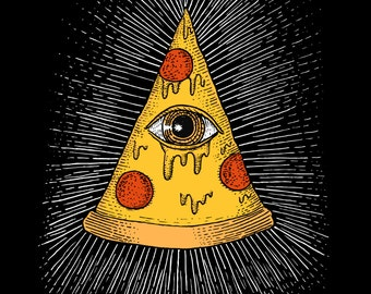 Pizzalluminati-A3 print- geeky pizza illuminati all seeing eye print Free worldwide shipping