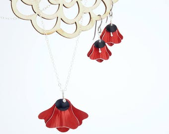 Red and Black Anodized Aluminum Pendent with Matching Earrings, Poppies Collection by Mandy Allen, Gift Set