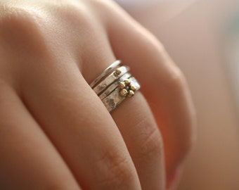 Stackable Rings With Gold Granulation