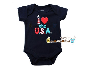 I Love the USA Navy Blue Short Sleeve Baby First Independence Day Statement Onesie - Fourth of July Photo Prop Bodysuit, Olympics Team Shirt