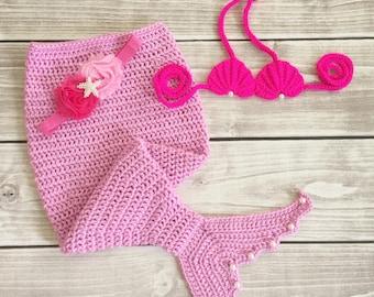 Baby mermaid costume, pink mermaid tail, seashell top, baby mermaid tail, newborn photo prop, first birthday, baby mermaid set