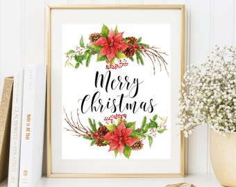 Merry Christmas wreath printable Christmas home decor Christmas party decoration Christmas Printable Art Holiday Wall Art Christmas decor
