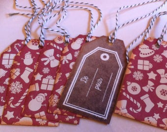 gift tags, Christmas, Christmas red and beige