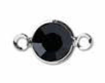 Jet Black Channel Link - Swarovski Round Channel - 6mm Jet Black Silver Plated - Package of 10