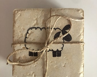 Travertine Tile Coasters..Stone..Sheep..Primitive..Set of 4..Gift..Country