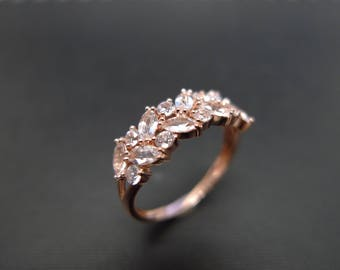 Champagne Morganite Ring / Morganite Engagement Ring / Morganite Ring / Morganite Ring Rose Gold / Morganite Band / Marquise Morganite Ring