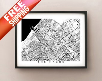 Den Haag Map - Black and White - Netherlands Art - The Hague Poster - Holland Print