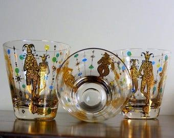 Culver Glassware Mardi Gras 1960s Three (3) Rare Bar Glasses Gold Harlequin Mid Century Barware New Orleans Jester Double Old Fashioned Set