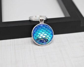 Blue Mermaid Keychain, Mermaid Scales Keychain, Blue Keychain, Mermaid Key Chain, Mermaid Gift, Fish Scales, Blue Key Chain, Gift For Her