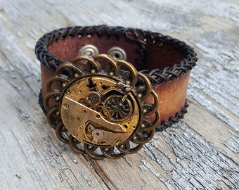 Steampunk Bicycle Leather Cuff Bracelet -Watch parts Vintage Bracelets-Wristband cuffs- Amazing Girlfriend Ladies Fitness trainer gift