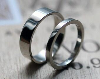 Palladium wedding band set, palladium band, palladium ring, modern wedding band, alternative wedding bands, mens wedding band, custom made