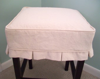 Square Barstool Slipcover with Box Pleats, Bar Stool Slipcover
