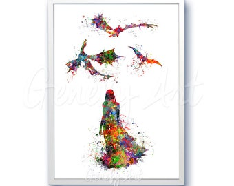 Game of Thrones Daenerys Watercolor Art Poster Print - Game of Thrones Targaryen Art Watercolor Painting - Home Decor - House Warming Gift