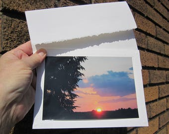 10% Discount! Lot of 2 SUNSET colorful photos GREETINGS CARDS w. envelope + stickers. Choice of 4