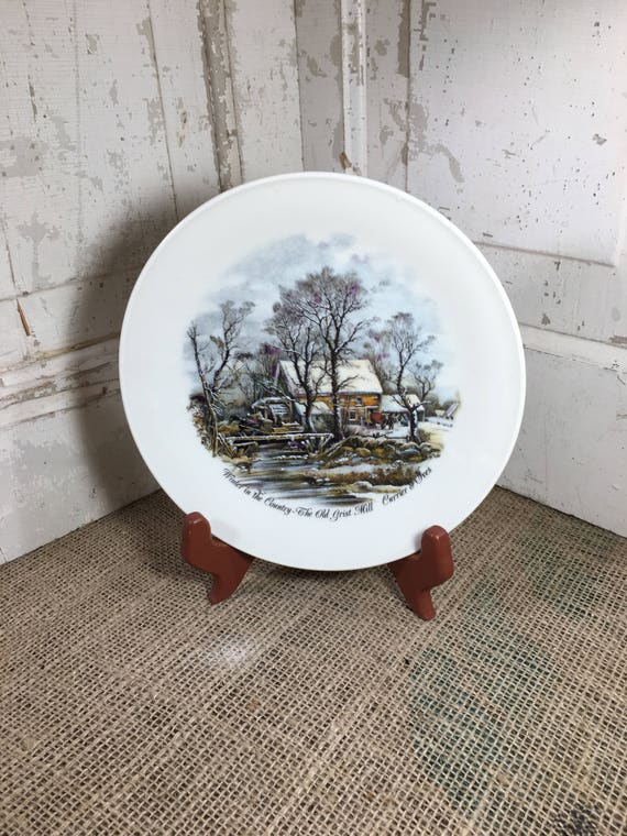 Vintage collectible plates, Seltmann Weiden Bavaria W. Germany, Winter in the Country, The Old Grist Mill, Currier and Ives, collector plate