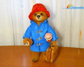 Needle felted bear inspired Paddington, teddy bear, art doll, needle felted animal, handmade doll, needle felt, collectible doll felted doll