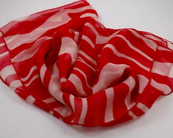 Vintage Red and White Scarf,white,lines,stripes,vintage,retro,mid century,neck scarves,lines,fashion,Headwrap,head scarf,Scarf,hair scarf