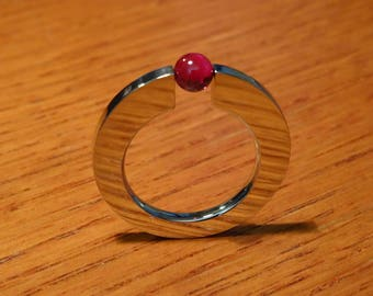 Handcrafted stainless steel ring with tension-mounted ruby ball, simple design red stone solitaire ring, Style C