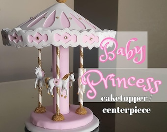 Carousel cake topper  / Centerpiece- pink, white gold