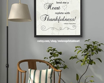 Shakespeare Quote, Thankful Quote, Christian Gift, Religious Art, Christian Wall Art, Christian Decor, Quote Print, Printable Quote Poster