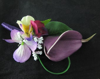 Purple Plum Real Touch Calla Lily Cluster Flower Wedding Prom Boutonniere