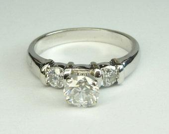 Vintage 14Kt White Gold Three Stone Diamond Engagement Ring 1.21 ct tw