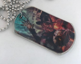 Freddy Jason Horror Handmade Dog Tag Necklace