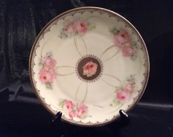 M Crown Bavaria mark pink rose plate with gold rim