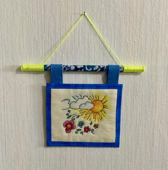 Sunny Days Hand Embroidered Mini Tapestry, Spring, Wall Art, Whimsical, Hand Embroidered