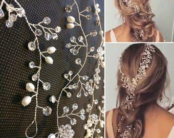 2018 extra long Pearl Wedding Hair wrap Crystal Bridal hair vine hair Accessories  Bridesmaid hair vine Prom Headpiece long Piece 140cm